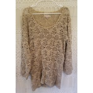 Jon Christy Vintage 100% Cotton Crocheted Sweater